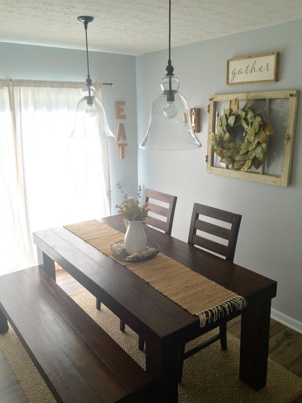 Dining Room Decor! Farm house table/ pottery barn pendants ... on Farmhouse Dining Room Curtains  id=25394