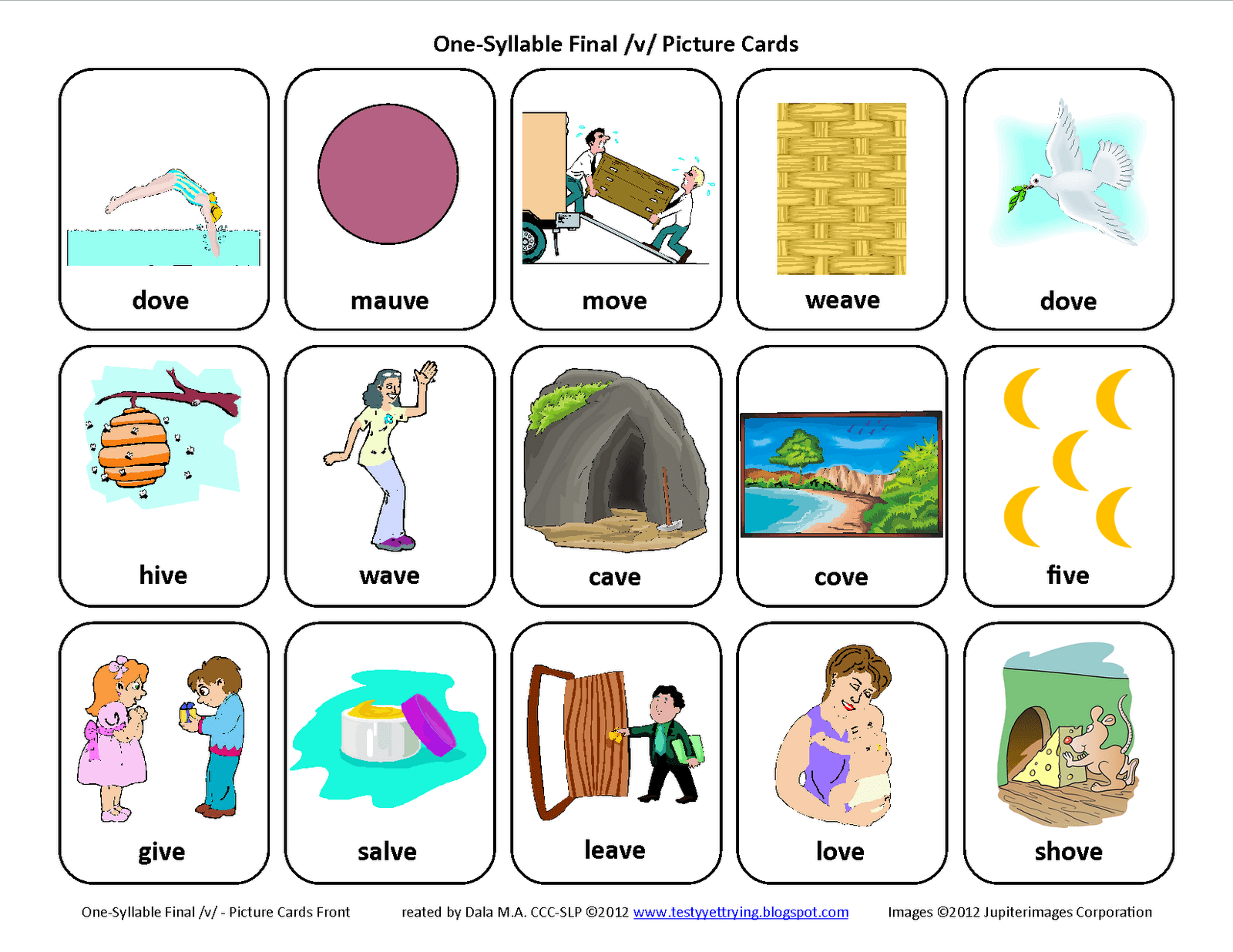 Final V Speech Therapy Articulation Cards Front