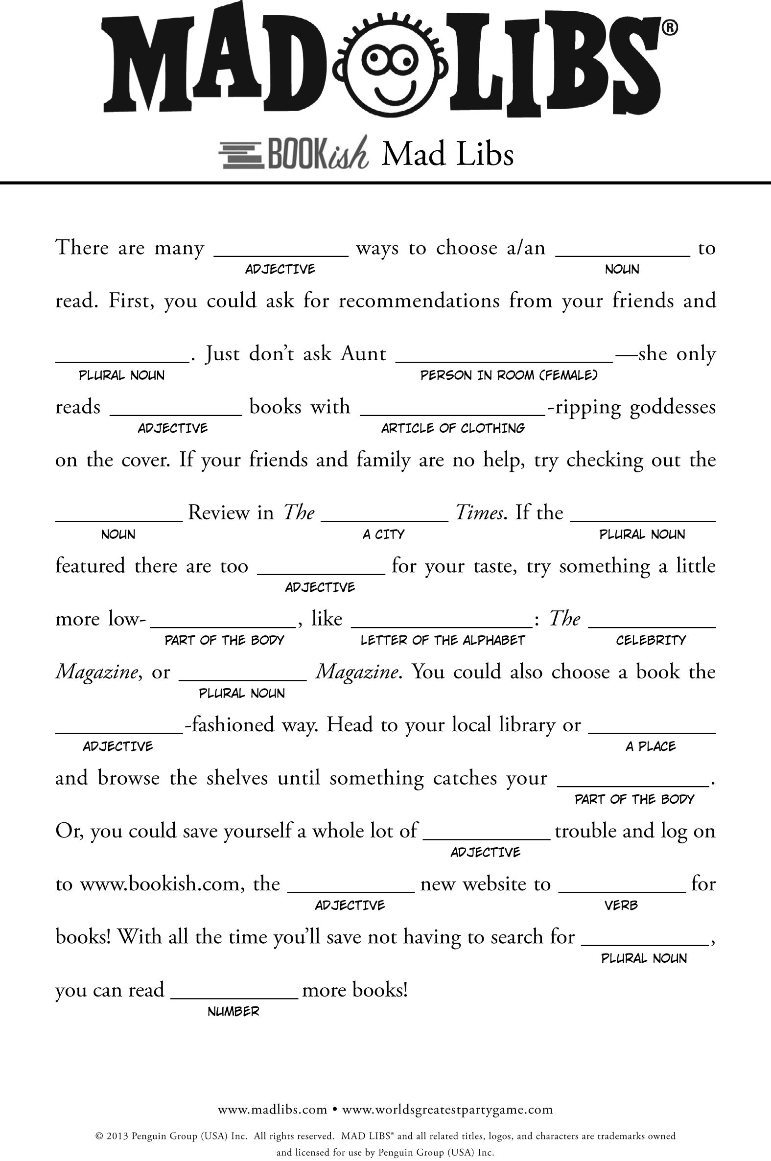 Bookish Mad Libs Okish Articles Free Mad