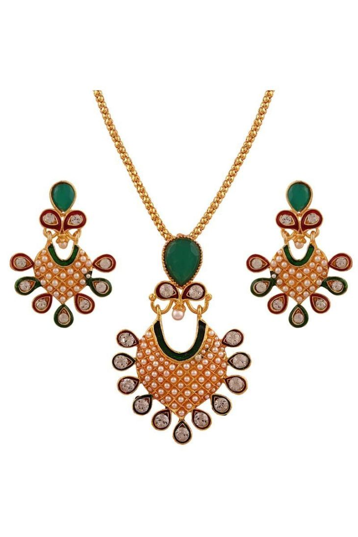 Green Gold Plated Pearl Pendant Set Pendant Sets on Variation In