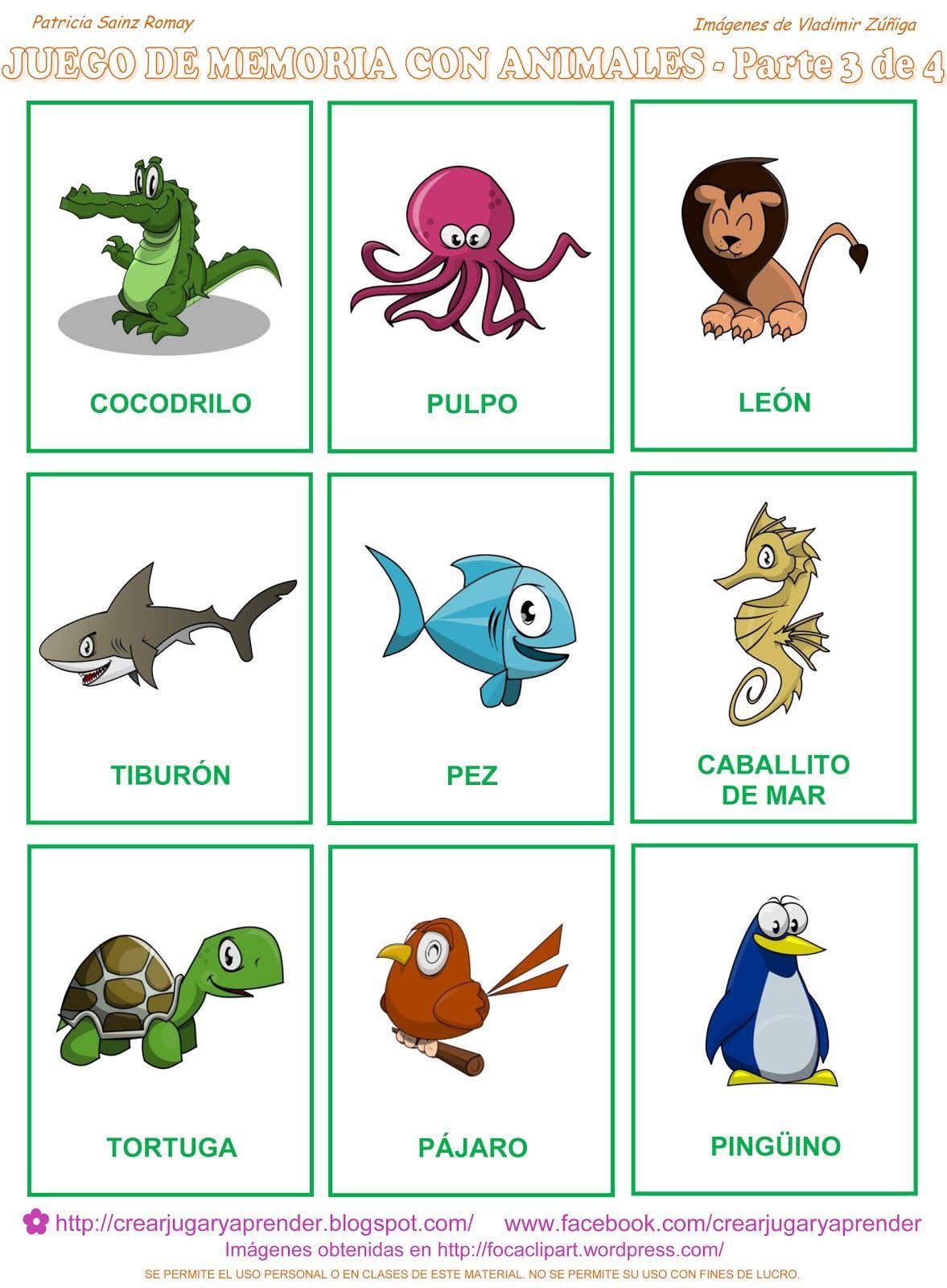 Ahora La Parte Tercera Del Memorama De Animales A Colores