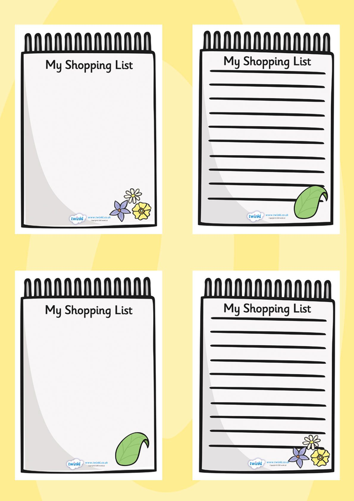 Twinkl Resources Gt Gt Role Play Shopping Lists Gt Gt Printable