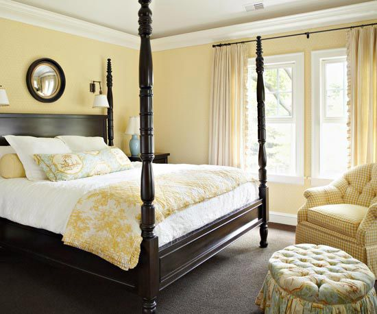 Dark Wood Yellow Bedroom W White And Blue Accent Pillows