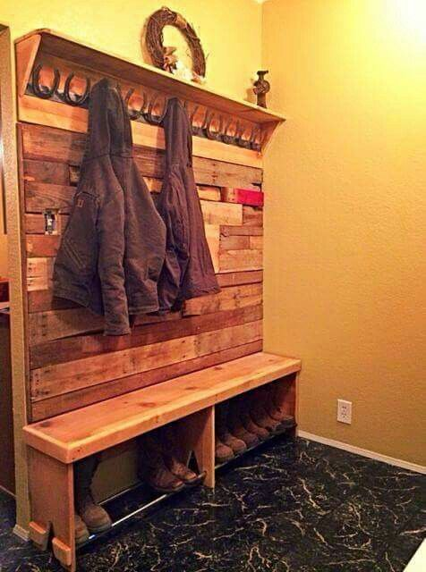 Entryway Bench With Coat Amp Boot Rack Made With Repurposed