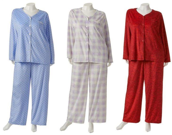 Croft u Barrow Womans Plus X X X Minky Fleece VNeck PJ Pajama
