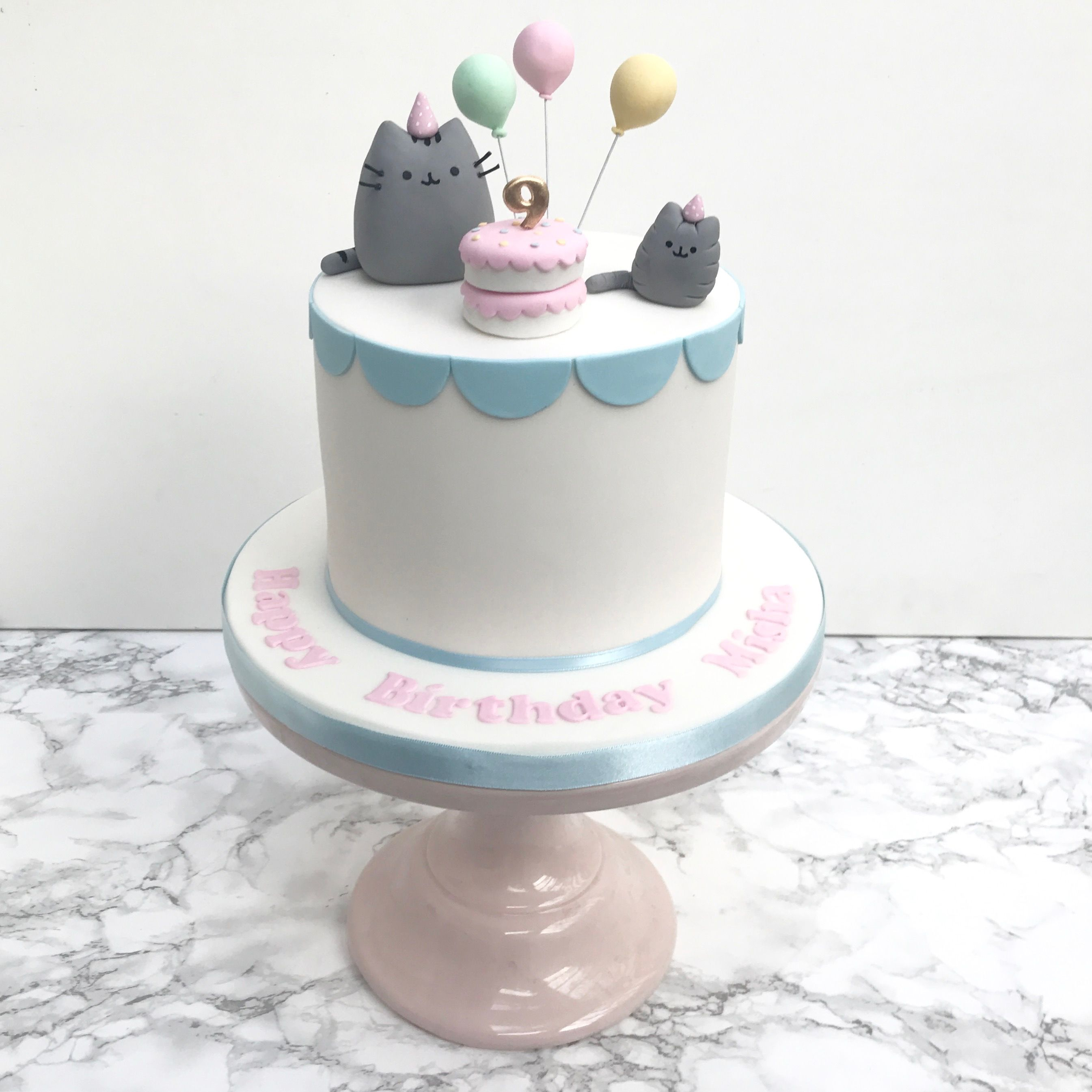 Pusheen Birthday Cake For A Girl With Balloons And Scallop