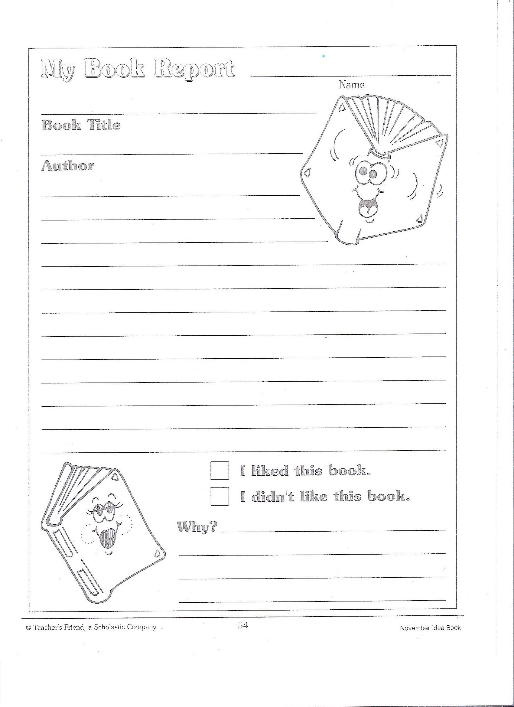 Printable Book Report Forms