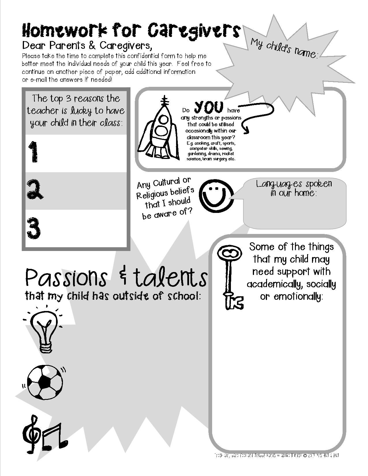 Free Printable These Fantastic First Week Of School Homework Sheets Are Perfect For