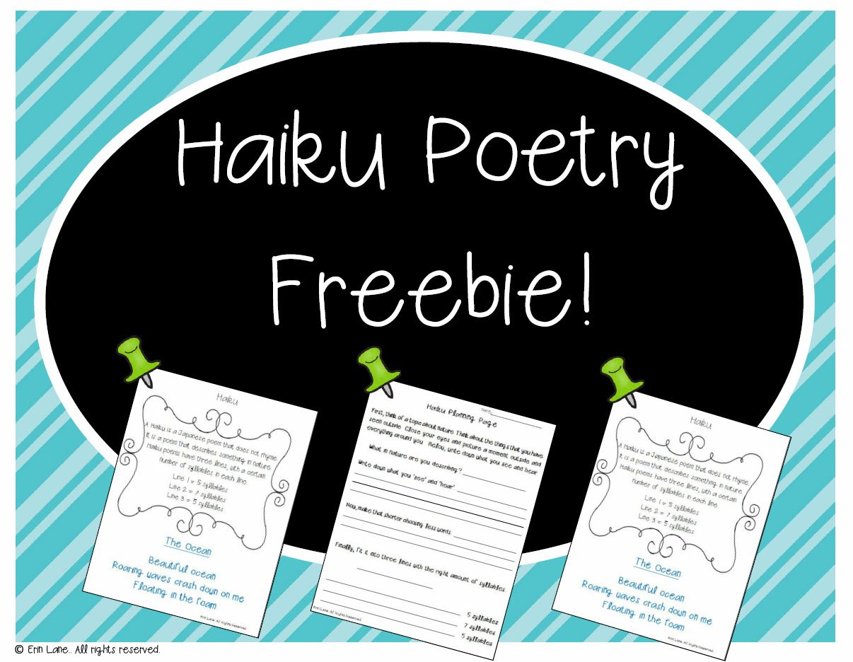 Haiku Poem Freebie From My Five Week Poetry Unit Example Planning Page And Final Draft Paper