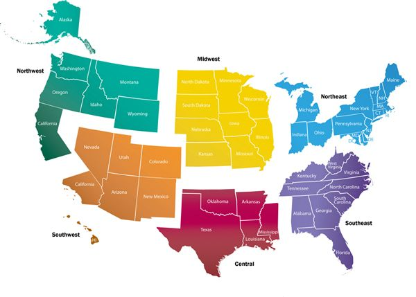 labeled northeast region map of the united states ...