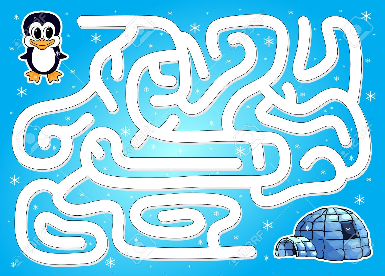 Help Penguin To Find Way To Igloo In A Winter