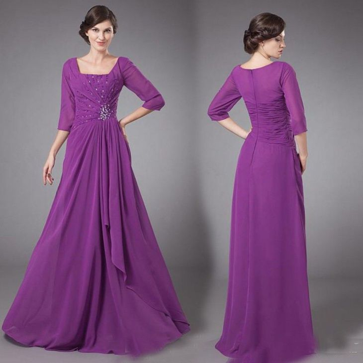 Click to Buy ucuc Purple Chiffon Long Modest Bridesmaid Dresses With