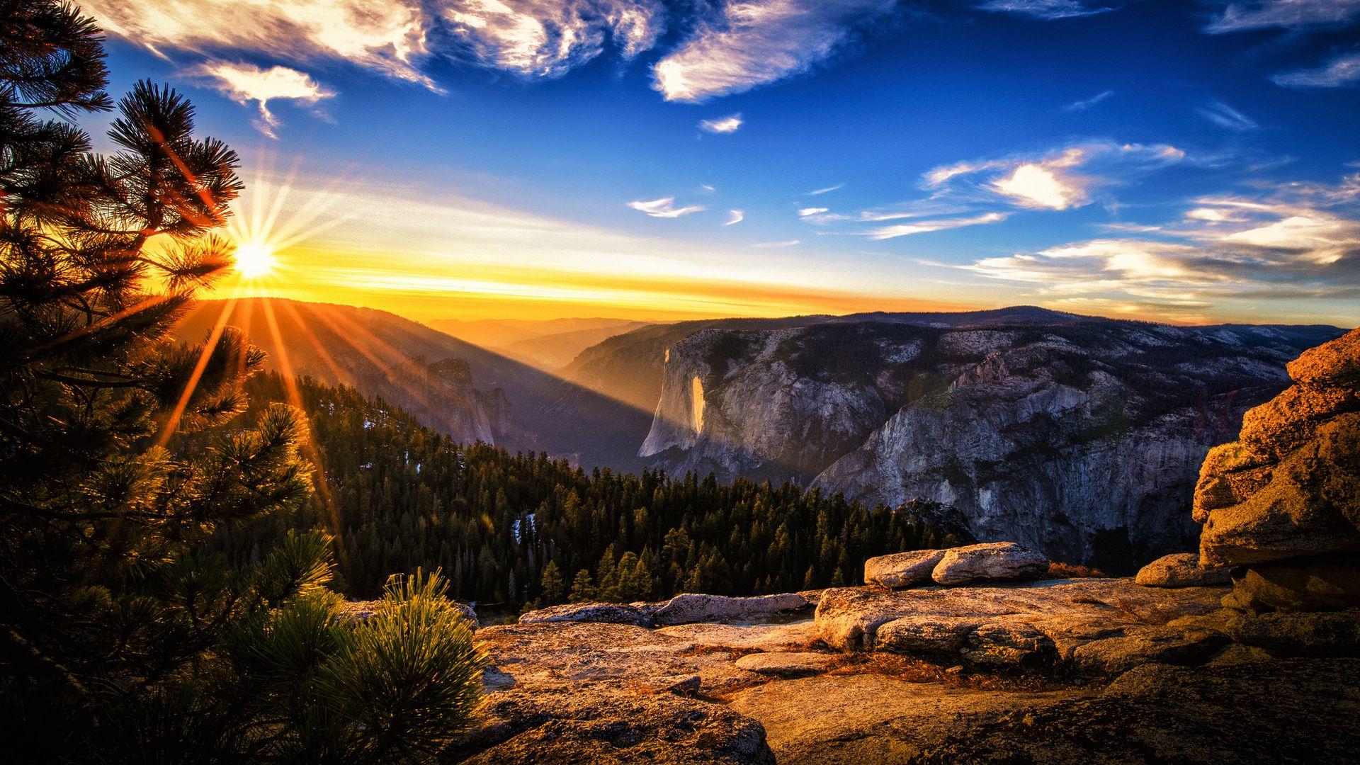 magnificent mountain sunset hdr hd desktop background wallpaper