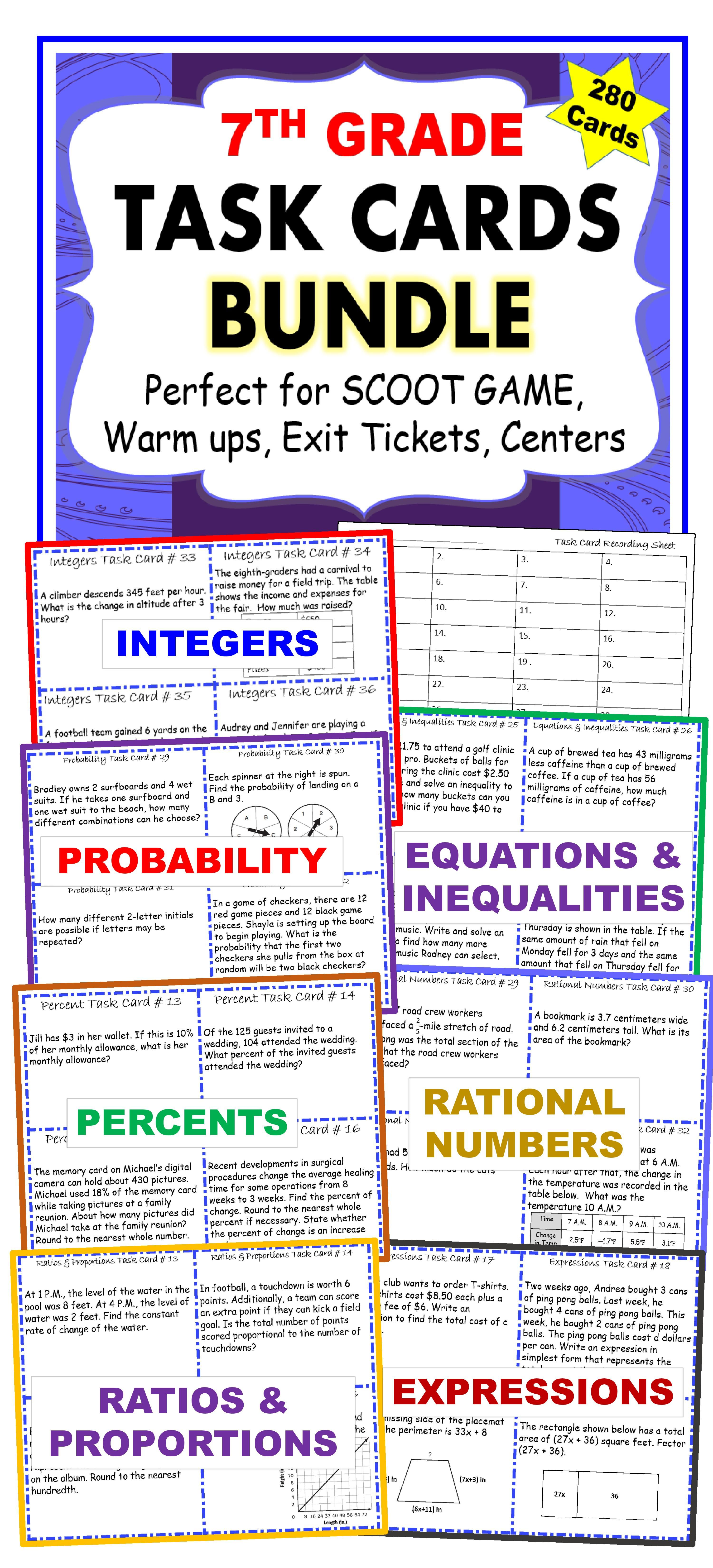 7th Grade Math Common Core Word Problem Task Cards Bundle