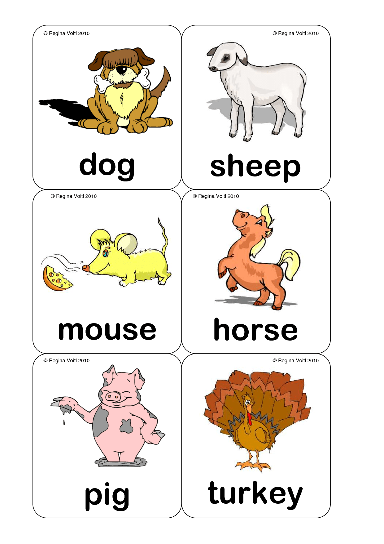 Farm Animal Flash Cards Printable