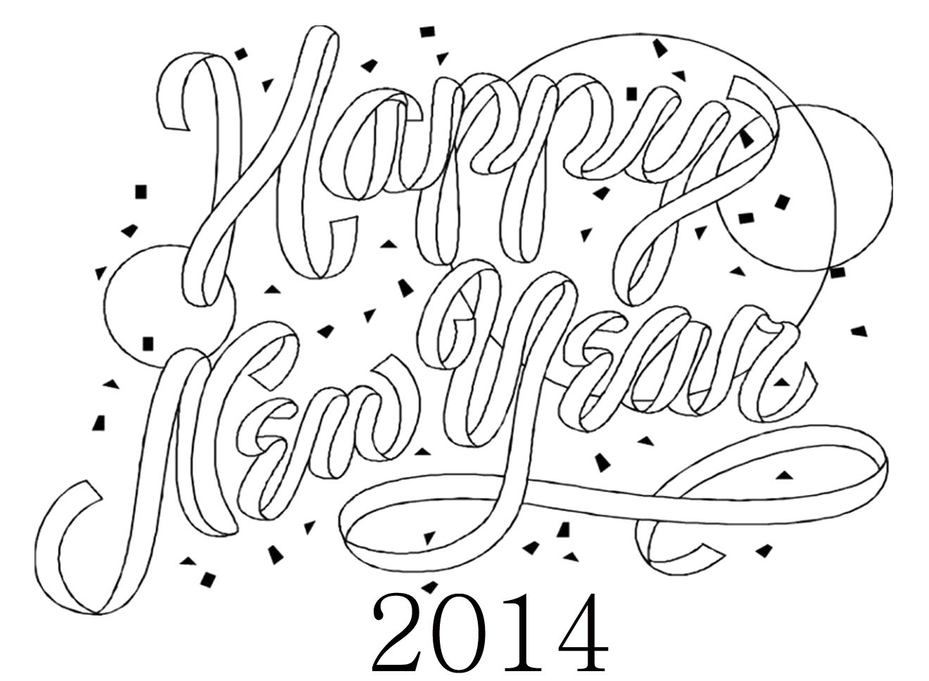 Greeting Card For New Year Coloring Page