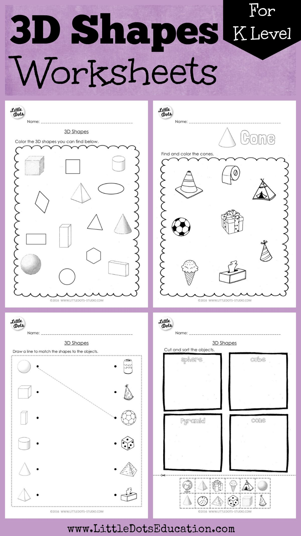 Download 3d Or Solid Shapes Worksheets And Activities On Cube Cylinder Cone Pyramid Cuboid
