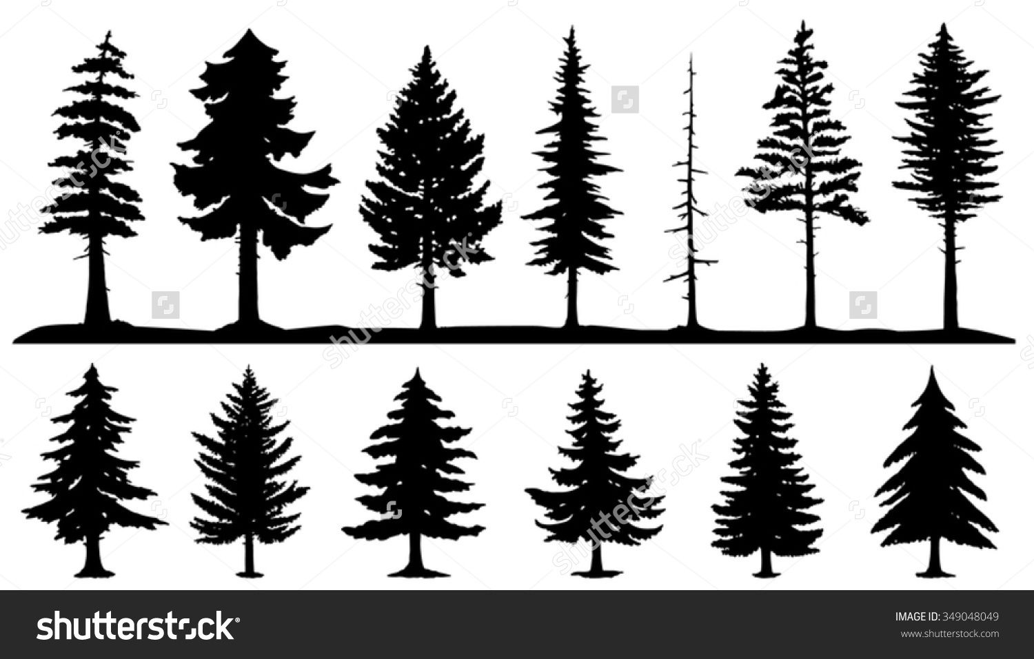 Forest Silhouette Tattoo Conifer Tree Silhouettes On The