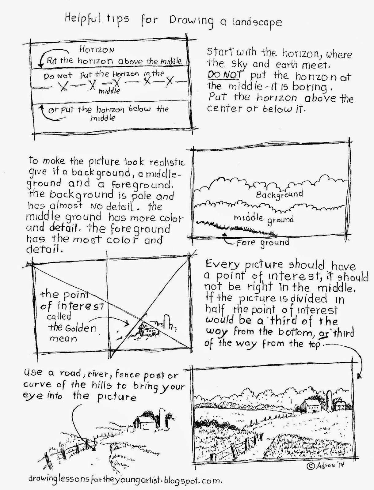 Tips For Drawing A Landscape Worksheet See More At My