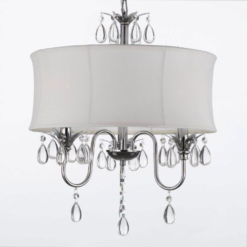 White Drum Shade Crystal Ceiling Chandelier Pendant Light Fixture Lighting Lamp By The Gallery Http