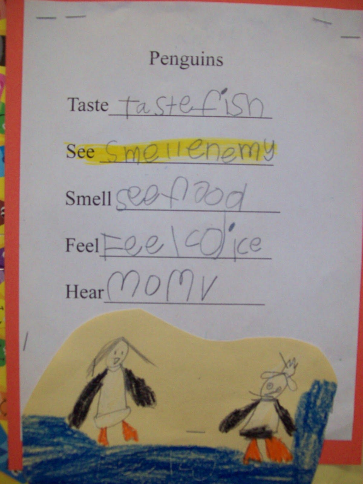 Using Sensory Words Beginning Writing Skills I Saw These Great Penguin Poems And Drawings In A