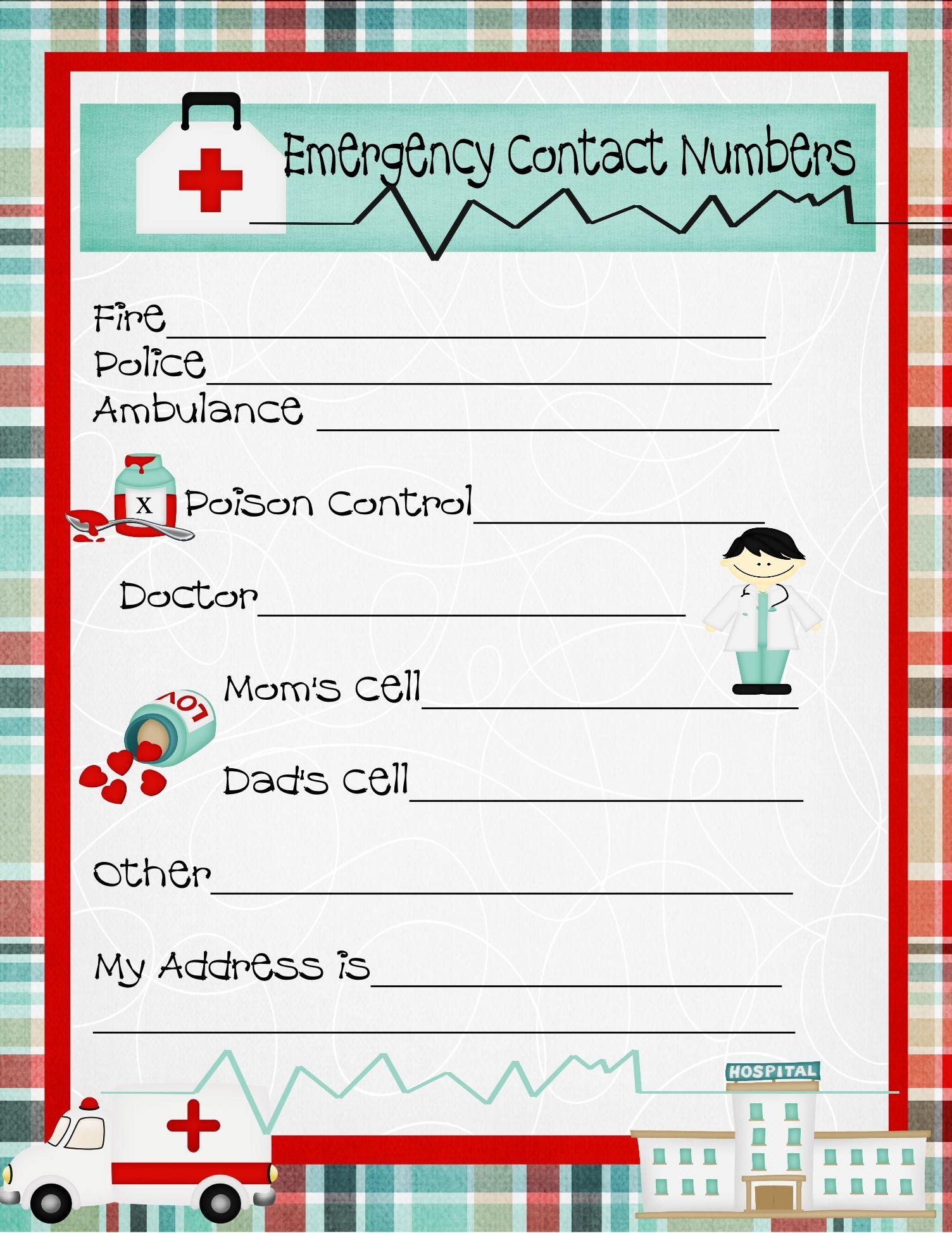 Emergency Numbers Printable
