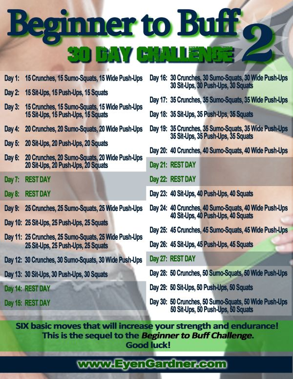 Beginner to Buff 2 30 Day Fitness Challenge 30th