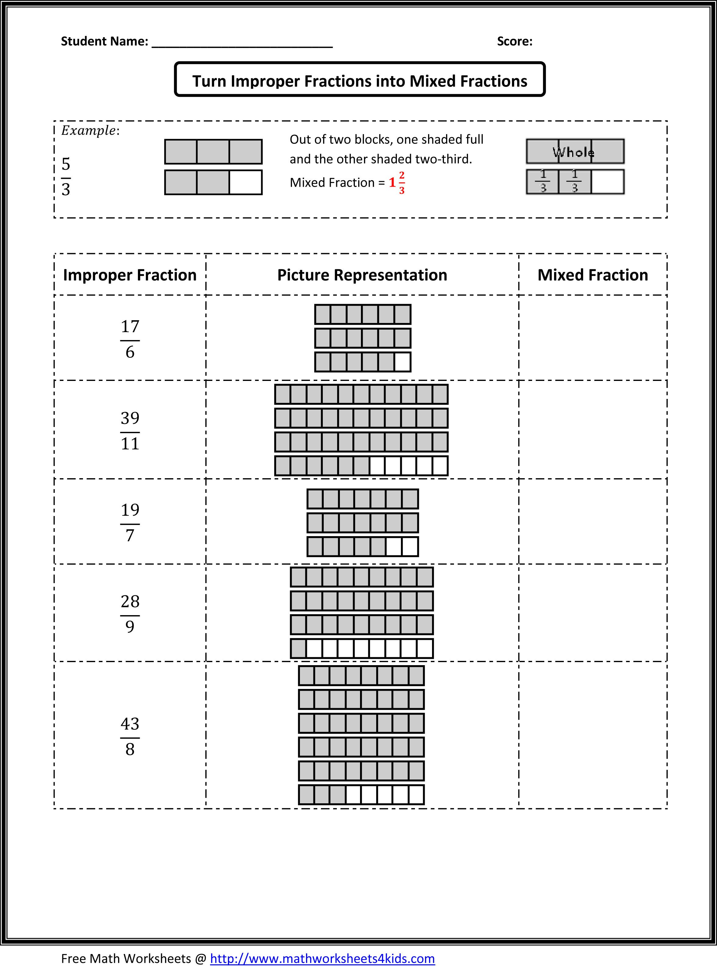Types Of Fraction Worksheets