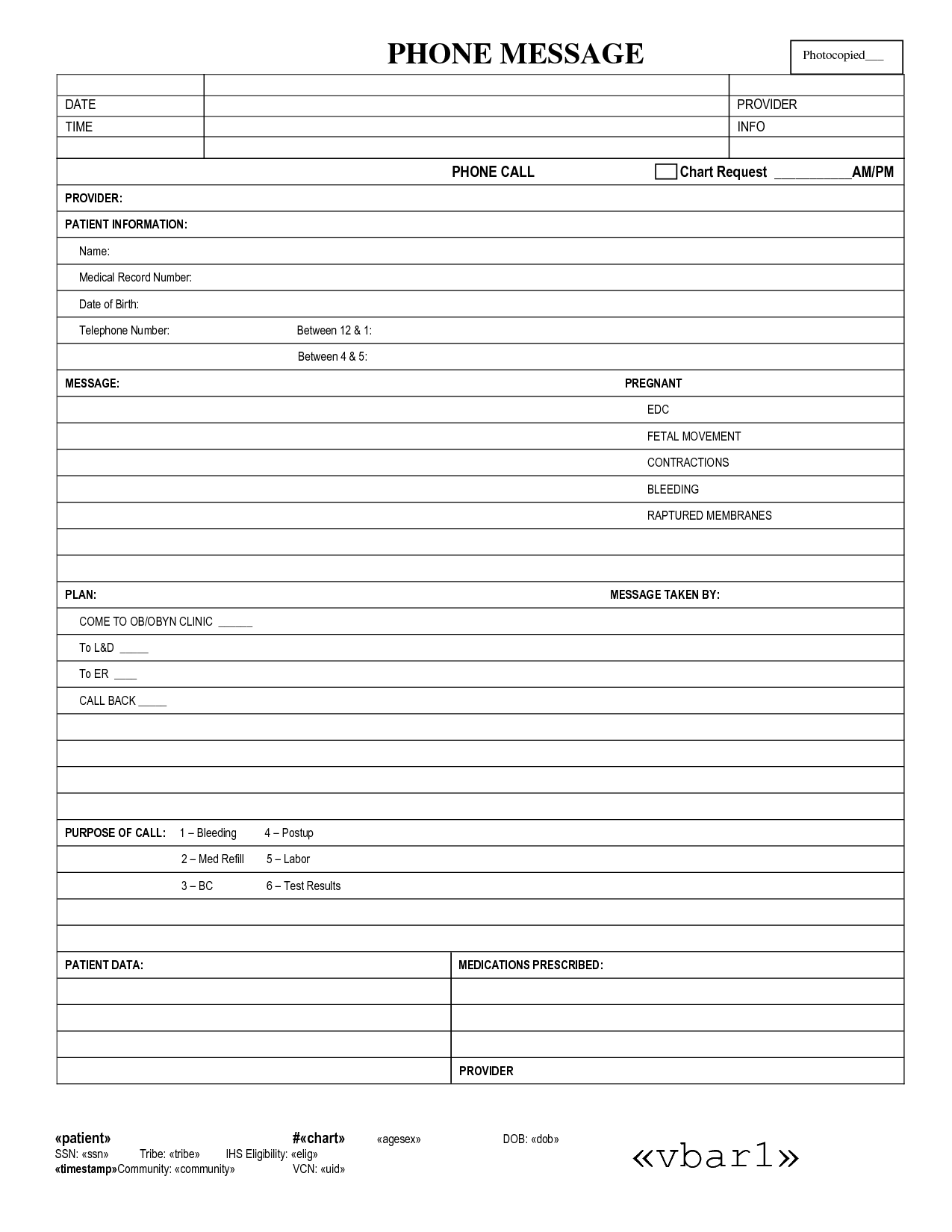 Medical Form For Telephone Message