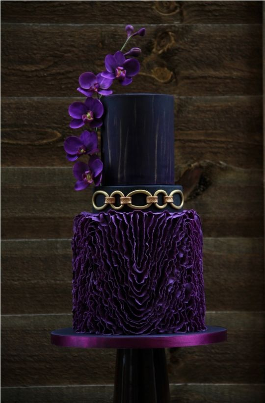 purple  black and gold wedding cake   WEDDING CAKES   Pinterest     purple  black and gold wedding cake