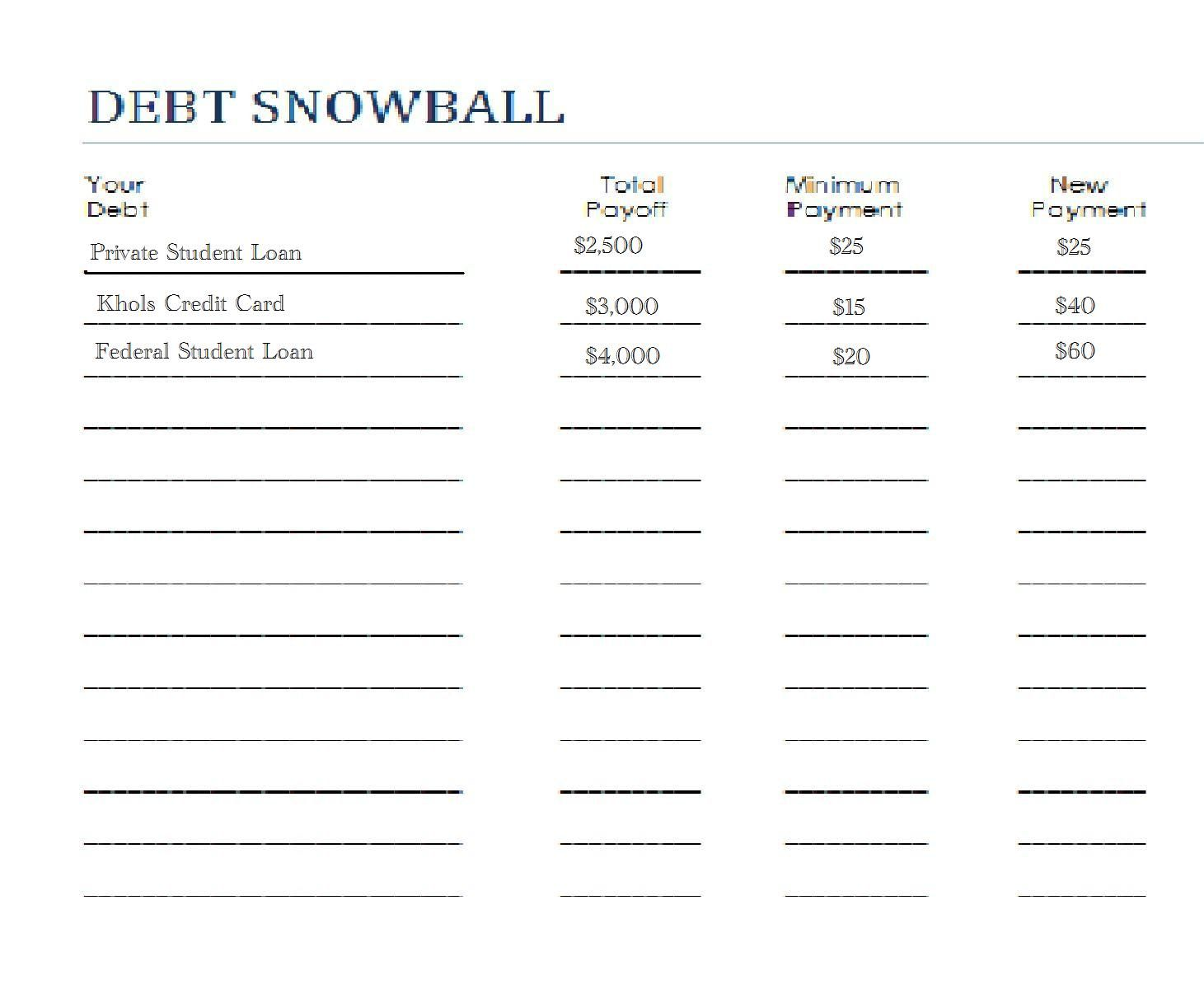 Snowball Debt Worksheet