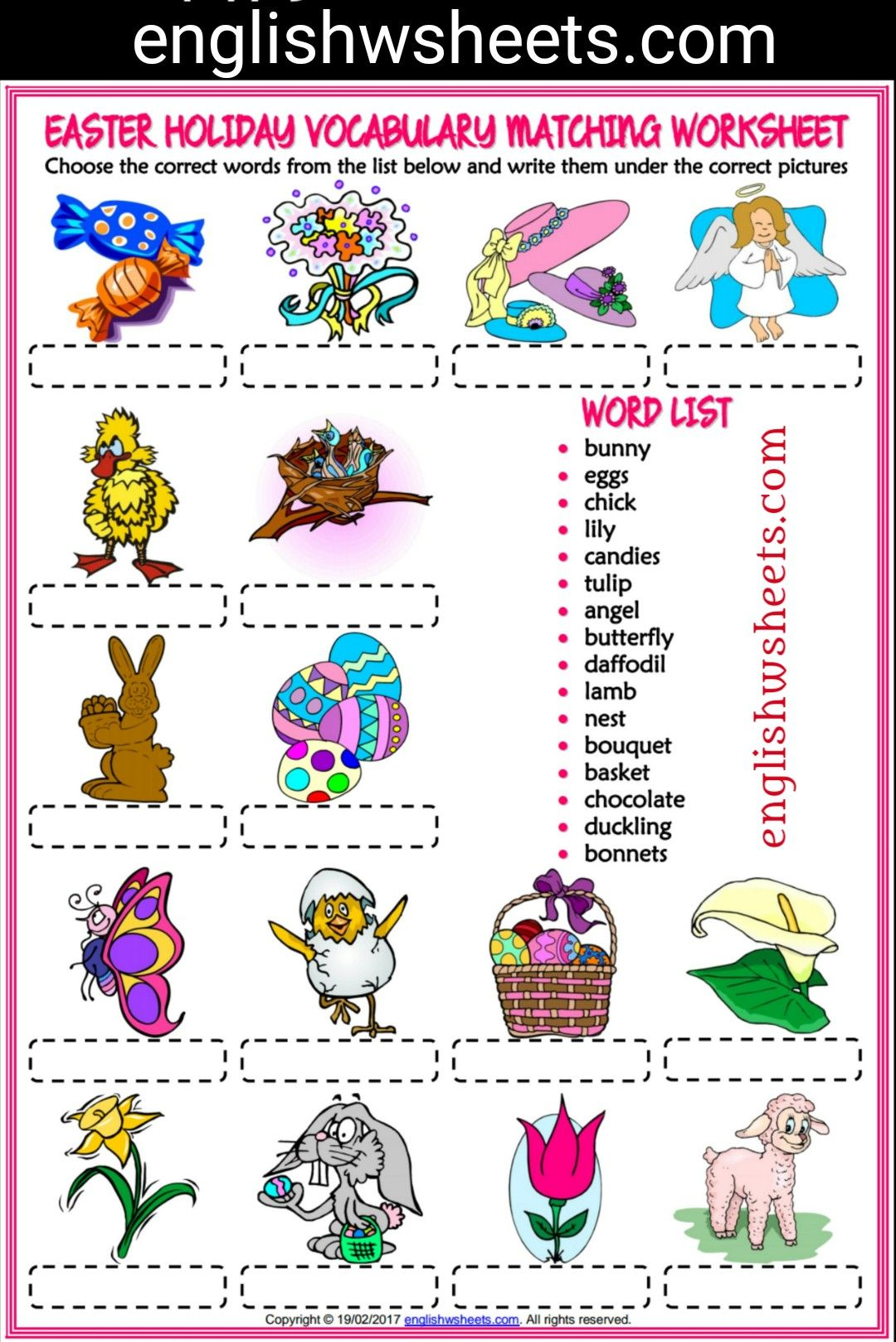 Easter Esl Printable Matching Exercise Worksheet For Kids Easter Esl Printable Matching