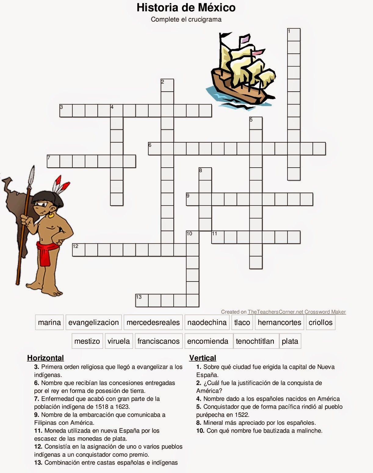 Historia De Mexico Crucigrama Expediciones Espanolas Y
