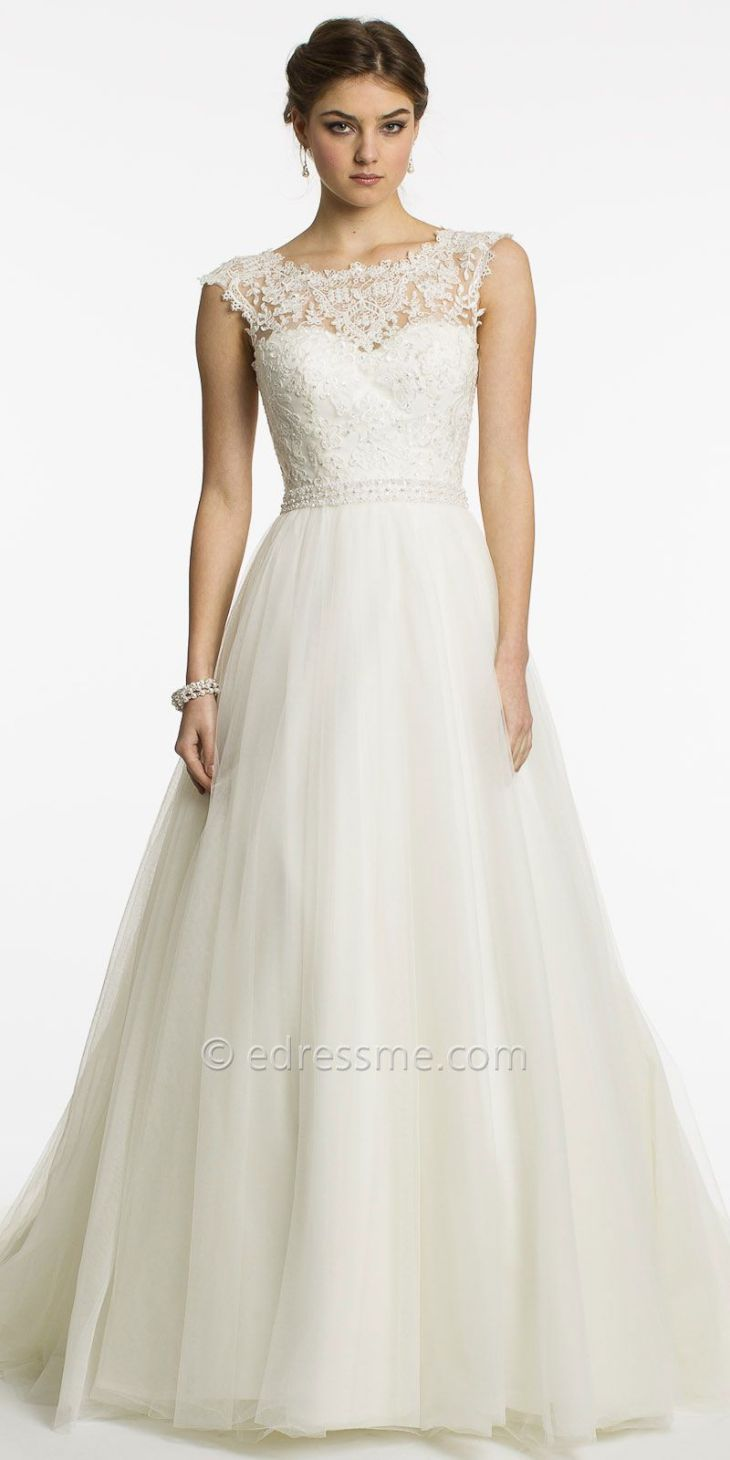 Lace Cap Sleeve Wedding Dress by Christian Michele from Camille La