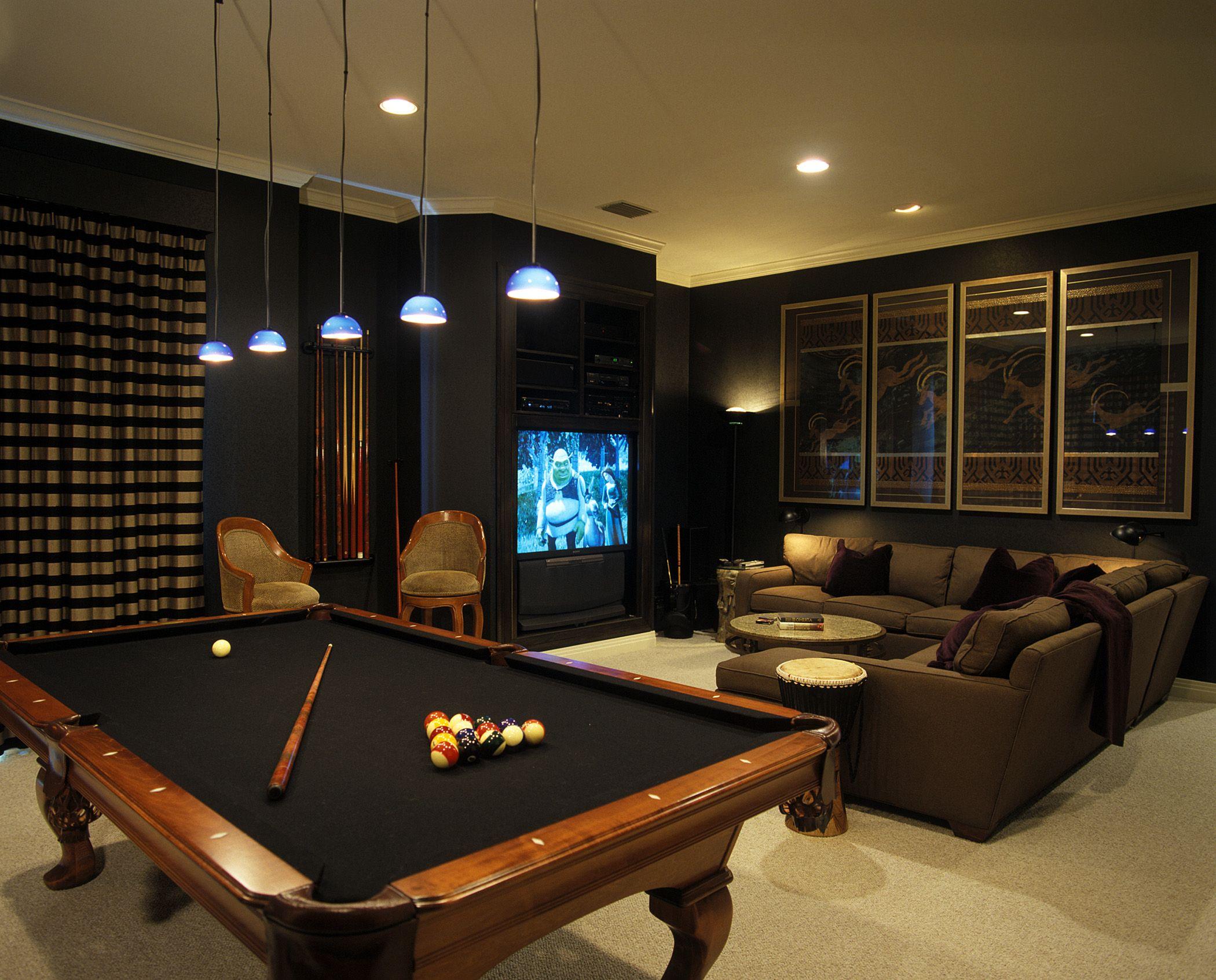 dark media room with pool table more media pinterest on smart man cave basement ideas id=65999