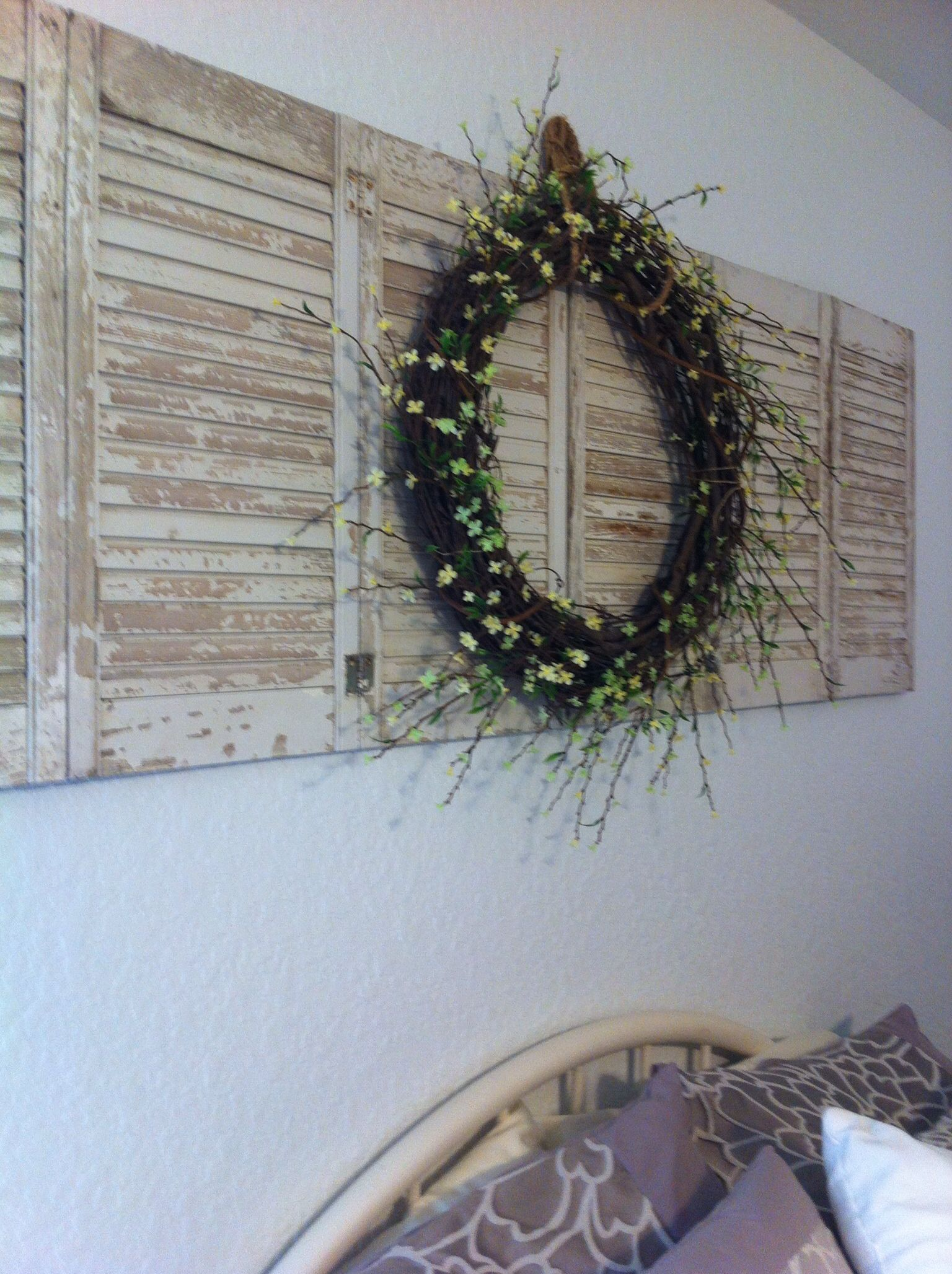 DIY Wreath On Shutters For Above Bed Decor Successes