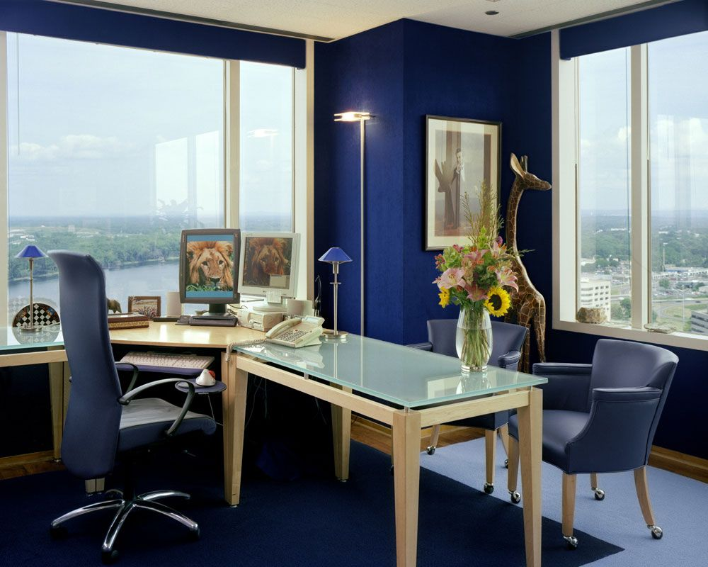 admirable small home office design with blue color themed on home office paint color ideas id=67418