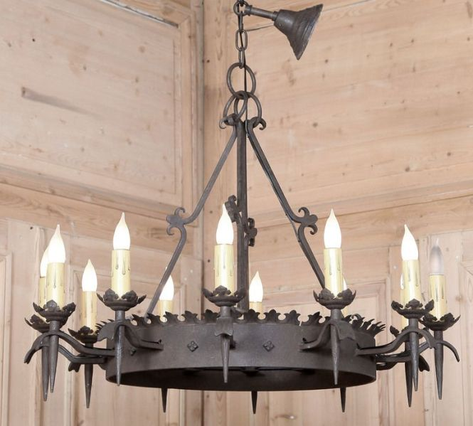 1stdibs Vintage Gothic Wrought Iron Chandelier
