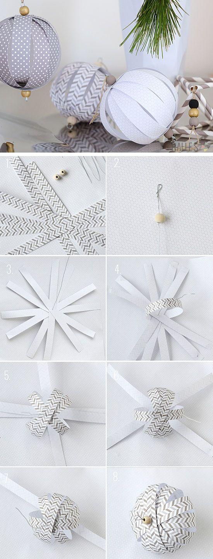 Papel de bricolaje de bolas Adornos |  Haga clic para 28 DIY fácil decoraciones d