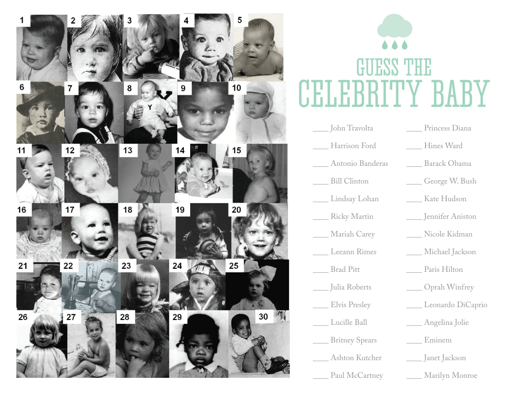 Free Printable Celebrity Baby Game By Nellie Design