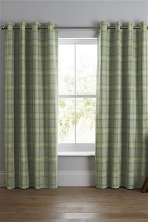 Green Archie Woven Check Eyelet Curtains From The Next Uk