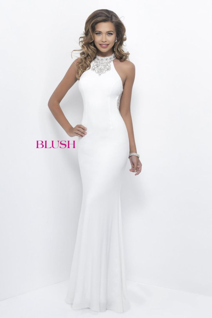 Blush Prom Off White High Neckline Prom Dress Products