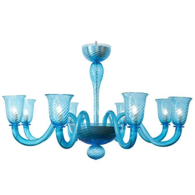Cerulean Blue Murano Glass Chandelier