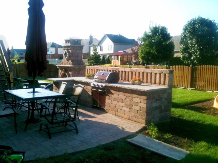 Chicagoland Outdoor Kitchen with Outdoor Fireplace by Wheaton IL