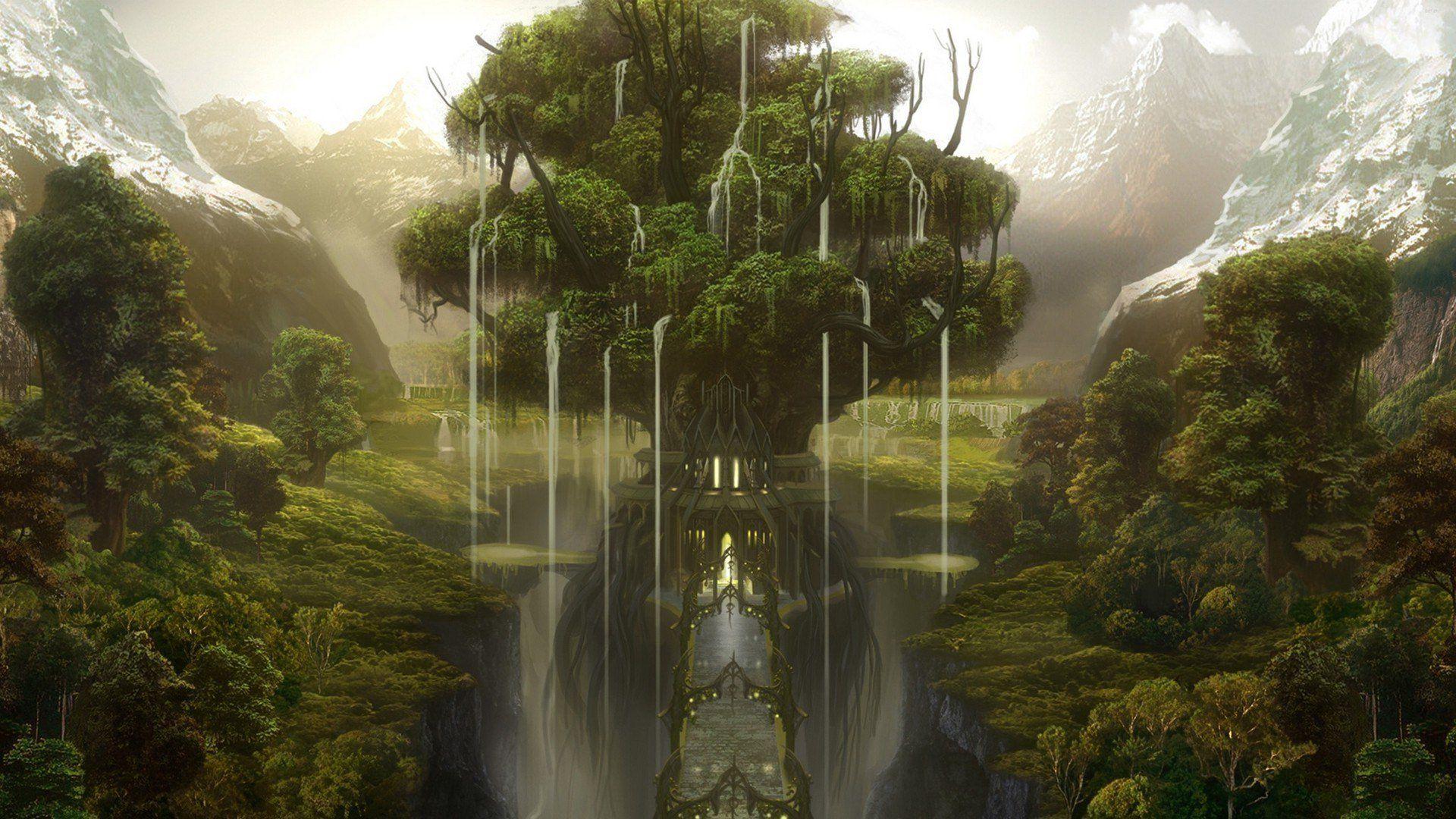 d tree render fantasy wallpapers freshwallpapers | wallpapers