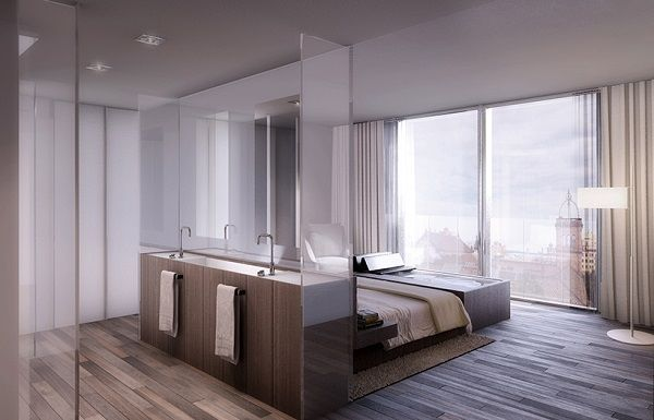 Modern Apartment Interiors Bedroom Bathroom Open Plan