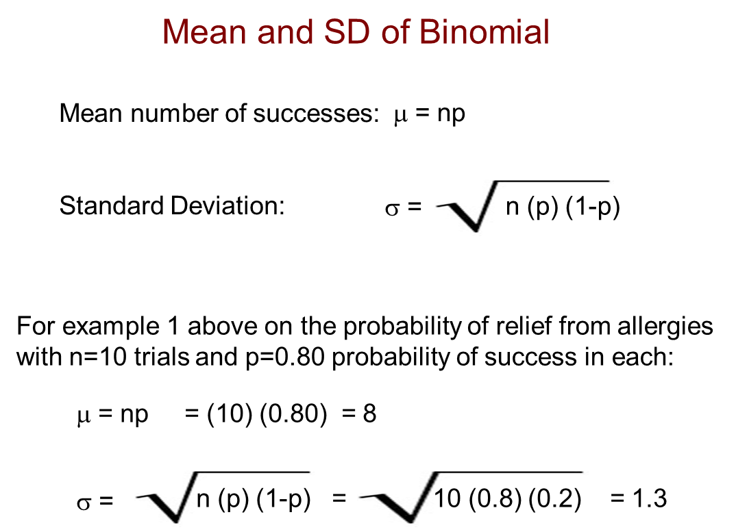 Mean And Sd Of Binomial Distribution