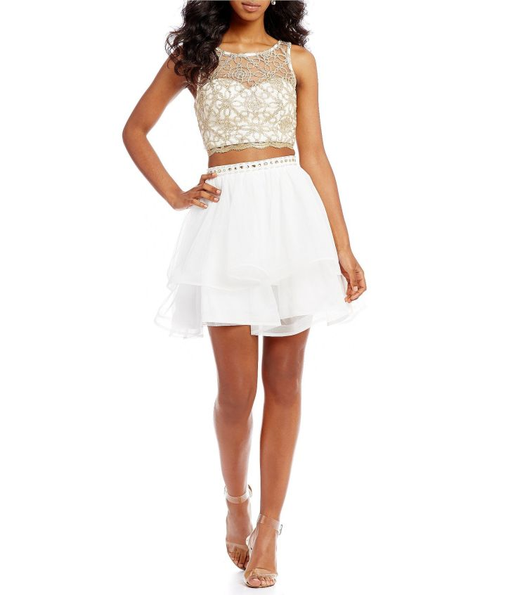 Shop for Sequin Hearts Chain Lace Top TwoPiece Dress at Dillards