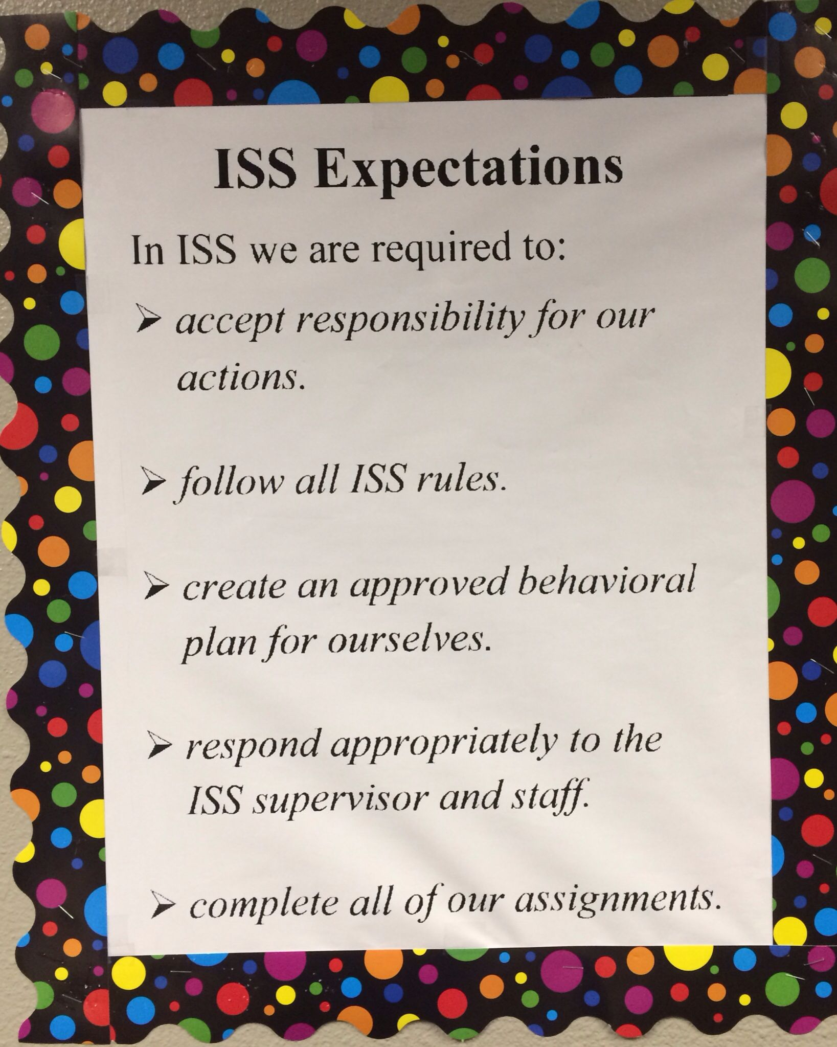 In School Suspension Expectations
