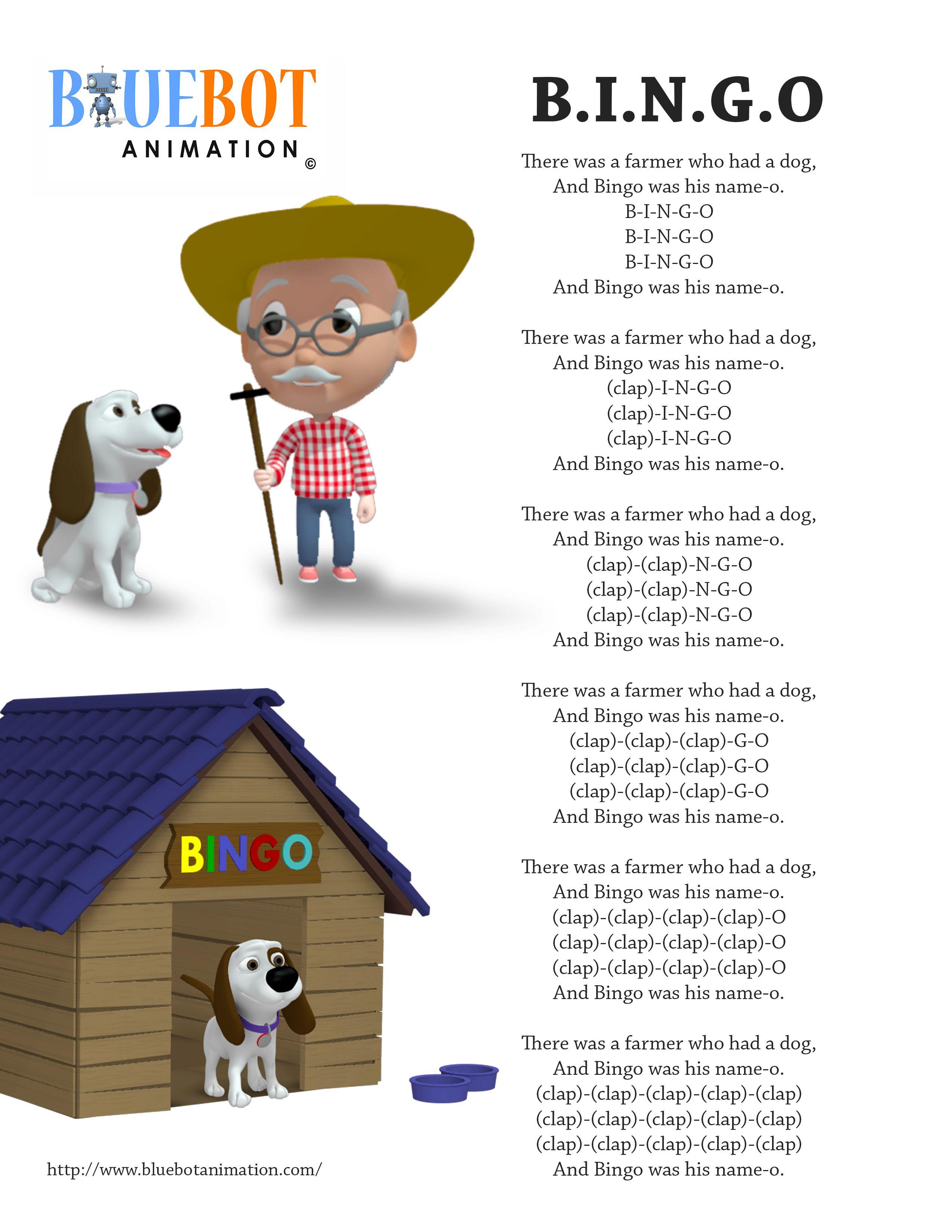 Bingo B I N G O Nursery Rhyme Lyrics Free Printable